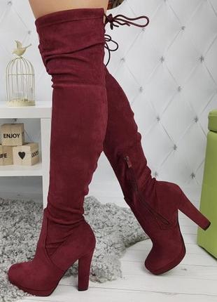 Новые шикарные женские демисезонные бордовые сапоги ботфорты5 фото