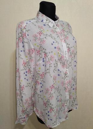 Нежная блузка рубашка в полоску в цветочек lindex
