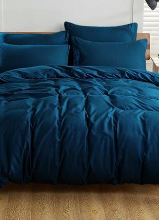 Постельное белье однотонное тёмно синего цвета поплин