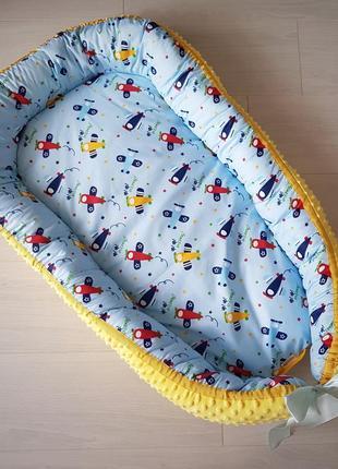 Гнездышко для новорожденного (кокон, бебинест) bright airplanes