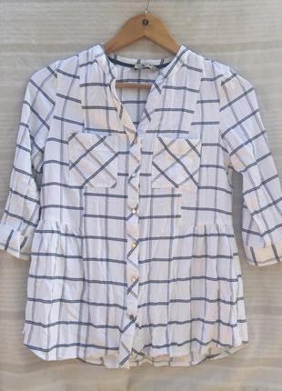 Качественная блуза очень стильная, футболка с рукавом в полоску и клетку + подарок
