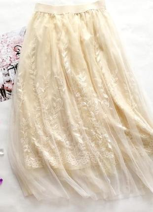 Воздушная юбка из фатина вышивка новинка
