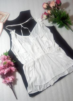 Красивенный нежный белый легкий изящный топ блуза от next uk14/eur42