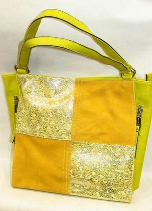 Кожаная женская сумка желтая яркая шоппер большая вместительная натуральная кожа новая