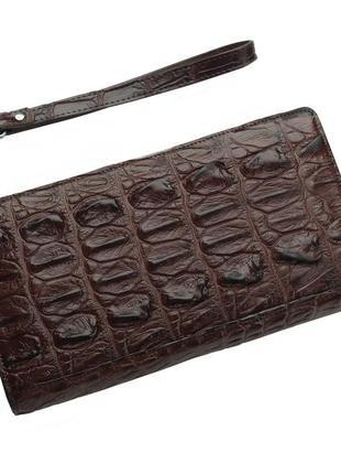 Кошелек из кожи крокодила на молнии ekzotic leather коричневый (cw 84)