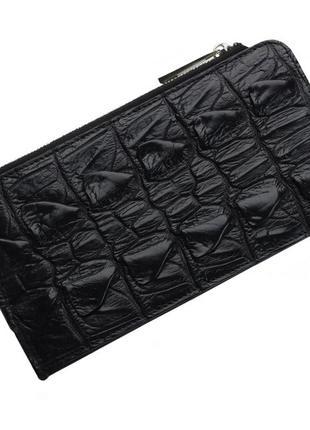 Кошелек визитница из кожи крокодила на молнии ekzotic leather черная (cw 87)