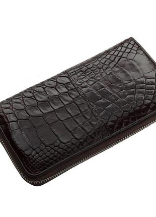 Кошелек ekzotic leather из натуральной кожи крокодила коричневый (cw 82)