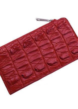 Кошелек визитница из кожи крокодила на молнии ekzotic leather красный (cw 85)