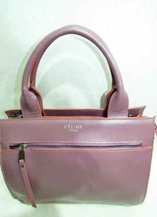 edbfcd764f46 Кожаная женская сумка розовая из натуральной кожи светлая стильная красивая  celine новая