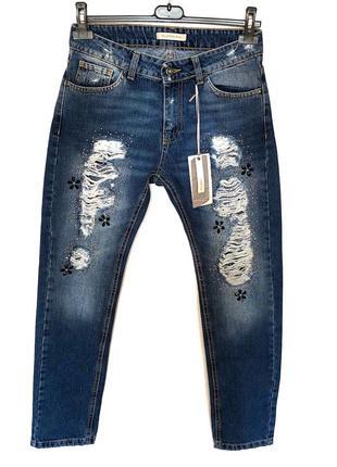 Новые бойфренды со стразами и порезами италия джинсы бойфренд floreiza