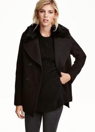 Двубортное полупальто жакет пальто с меховым воротником от h&m