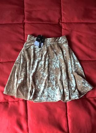 Новая велюровая юбка солнце,высокая талия