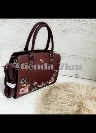 Женская сумка david jones с вышивкой 5862-4 d.bordeaux (бордовый)