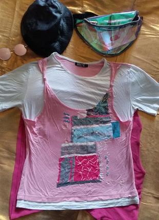 Нежная двойная футболка с принтом и бисером xl-xxl
