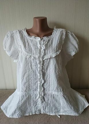 Блузка с коротким рукавом, тонкий коттон, идеальное состояние, пог 61 см
