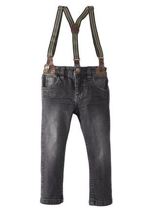 Стильные джинсы на подтяжках графит 2-3 года германия lupilu