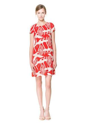 Милое коралловое платье птицы журавли вискоза