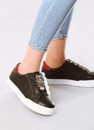 Новые черные женские кроссовки с совой