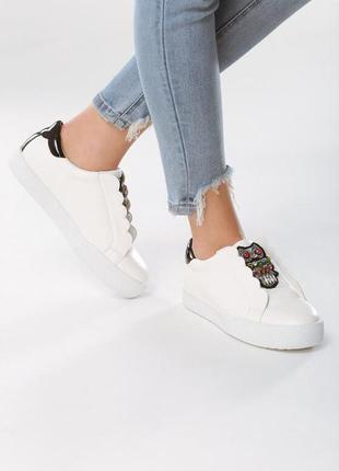 Новые шикарные женские белые кроссовки с совой2 фото
