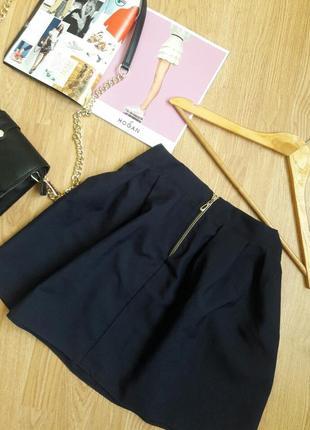 Темно-синя класична легенька  юбка на замочку.2 фото