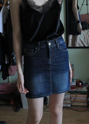 Юбка на высокой талии джинсовая