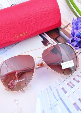 Фирменные очки капля авиатор с боковой шорой katrin jones polarized