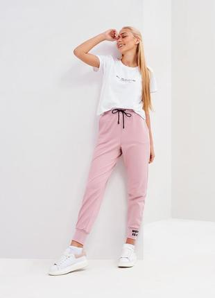 Спортивные штаны на талии с высокой посадкой на манжетах /3 цвета