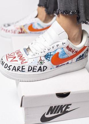Стильные кроссовки nike в белом цвете с цветными надписями ////😍3 фото