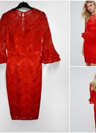Оригинальное шикарное красное кружевное платье с красивым рукавом