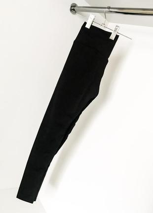 Чёрные спортивные женские лосины штаны леггинсы завышенная талия посадка широкий пояс 2019