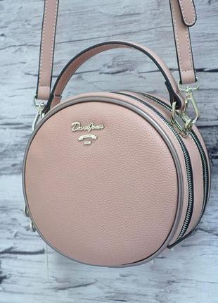 Круглый клатч на два отделения, сумка через плечо david jones 5952 розовый/пудровый