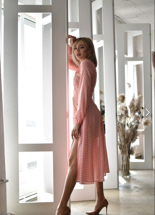 Невероятно нежное креп-шифоновое платье5 фото