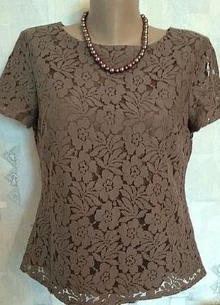 Кружевная блуза на чехле цвет кофе со сливками