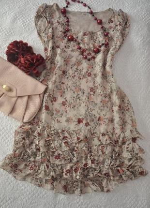 Платье туника на рюши по низу
