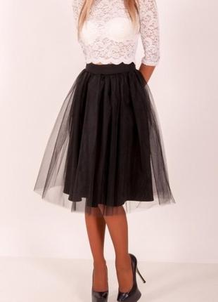 Красивая фатиновая юбка миди из евро-фатина