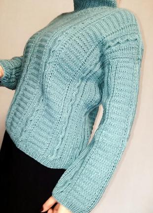 Уютный теплый свитер hand made на 50-52 размер