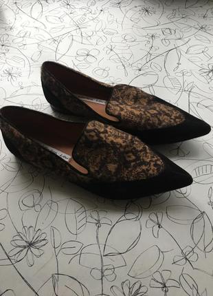 Замшевые туфли на плоском ходу