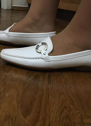 Мокасины geox кожаные белые нарядные элегантные удобные6