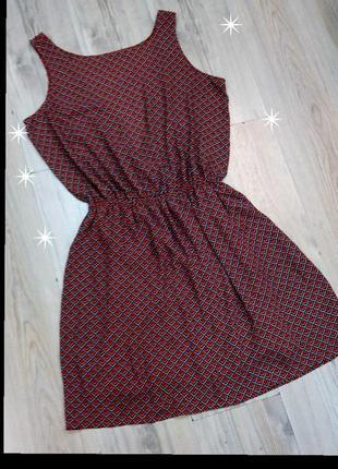 Красивенное весеннее платье сарафан геометрический принт1