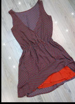 Красивенное весеннее платье сарафан геометрический принт2