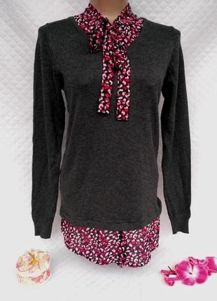 Актуальный вискозный джемпер с блузой обманкой размер 10-12 (42-44)