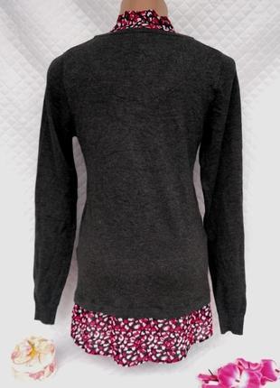 Актуальный вискозный джемпер с блузой обманкой размер 10-12 (42-44)3 фото