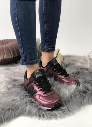 Шикарные женские кроссовки new balance 574 burgundy3
