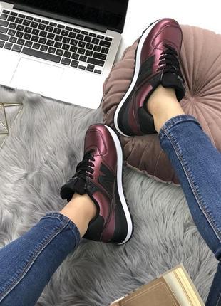 Шикарные женские кроссовки new balance 574 burgundy4
