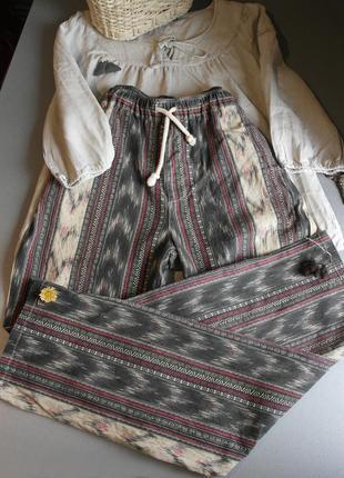 Штаны с орнаментом коттон с карманами. джинсы с орнаментом на резинке прямые хлопок4