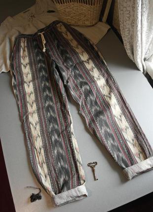 Штаны с орнаментом коттон с карманами. джинсы с орнаментом на резинке прямые хлопок1