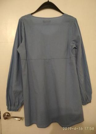 Туника батистовая хлопок 100% голубая с модными рукавами3