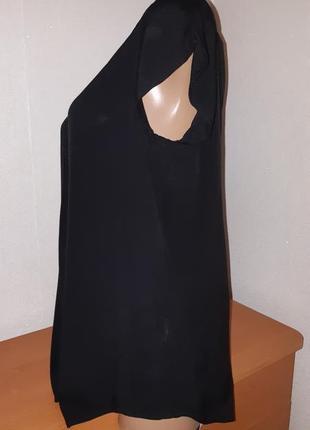 Чёрная блуза из вискозы свободного кроя3