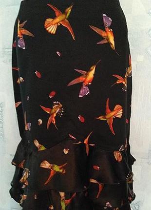 Нескучная летняя юбка из набивного коттона с шелковыми воланами, 46го размера1