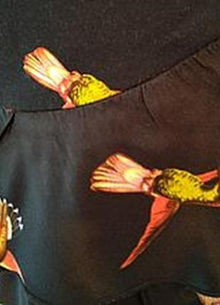 Нескучная летняя юбка из набивного коттона с шелковыми воланами, 46го размера5